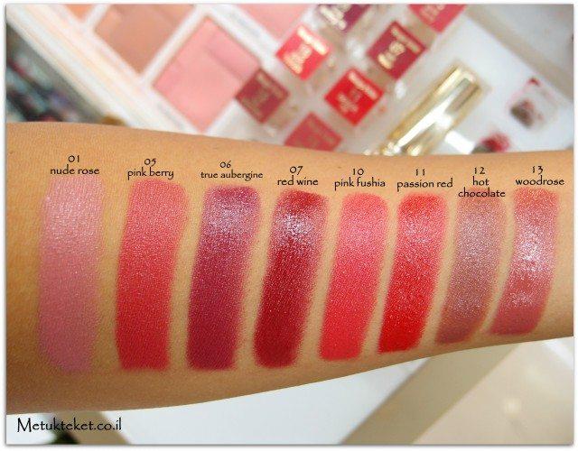 קלרינס, קוסמטיקה, טיפוח, איפור, בלוג, מומלץ, שפתון, ליפסטיק, אדום, חדש, review ,clarins, Rouge Eclat - Satin Finish Age-Defying Lipstick