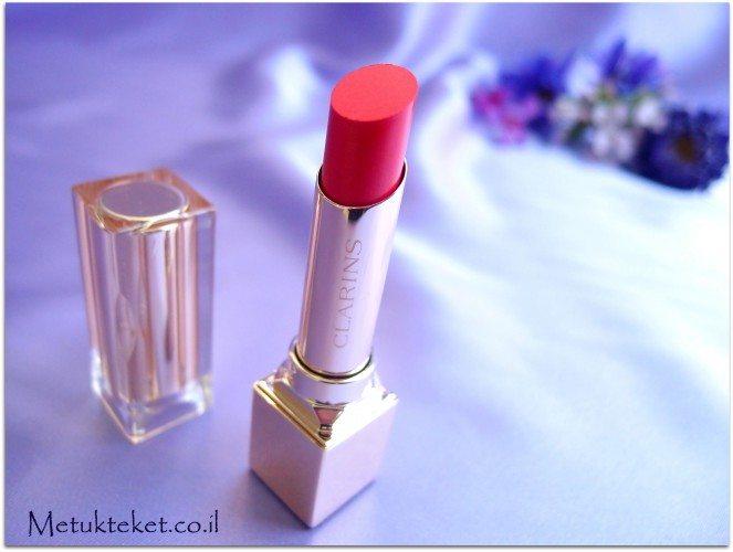 קלרינס, שפתון, ורוד, דובדבן, עמיד, חדש, clarinsw Rouge Eclat - Satin Finish Age-Defying Lipstick -#10 pink fuchia