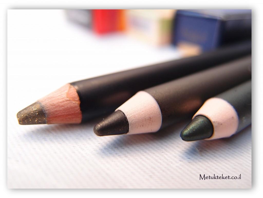עפרון עיניים של אסתי לאודר, עפרון עיניים סיסלי, עפרון עיניים קליניק, Estee lauder, Clinique, Sisley, Eyeliner, green make up