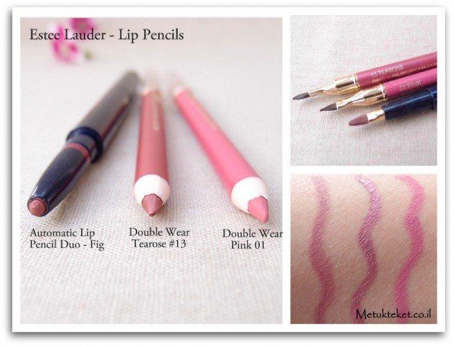 אסתי לאודר, עפרון שפתיים, עפרון עמיד, דאבל וור, ורוד, עפרון ללא חידוד, estee lauder, lip pencil, Automatic lip pencil duo